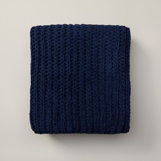 Oui Chunky Rib Knit Throw Indigo Blue