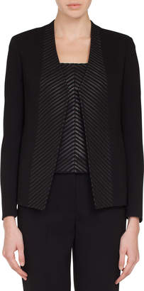 Akris Selma No-Closure Chevron Leather-Front Jacket