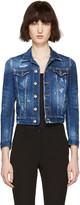 DSQUARED2 Blue Denim Distressed Cropped Jacket