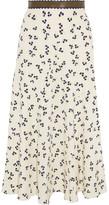 Roksanda Moraya Leather-trimmed Printed Silk Crepe De Chine Midi Skirt - Ivory