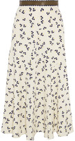 Roksanda Moraya Leather-trimmed Printed Silk Crepe De Chine Midi Skirt - UK12