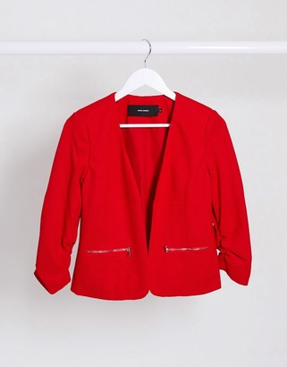 Vero Moda zip pocket blazer in red
