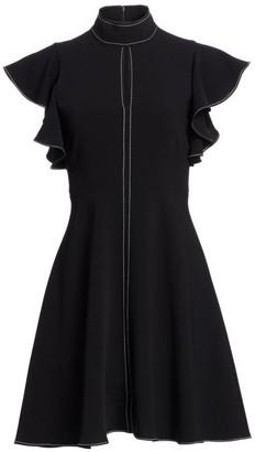 Cinq à Sept Reiko Flutter-Sleeve Contrast Stitch Dress