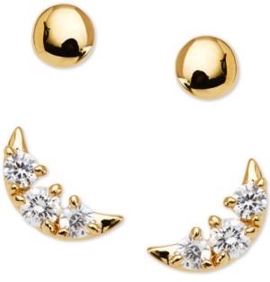 AVA NADRI 2-Pc. Set Crystal Crescent Stud Earrings