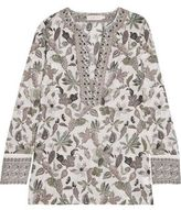 Tory Burch Embellished Printed Cotton-Voile Tunic