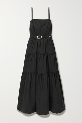 Nicholas Kerala Belted Tiered Cotton-poplin Maxi Dress - Black