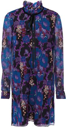 Anna Sui Pussy-bow Velvet-trimmed Floral-print Silk-crepon Mini Dress