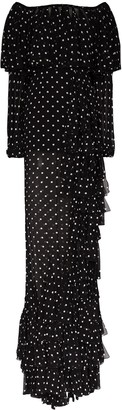 Balmain Off-The-Shoulder Ruffled Polka-Dot Gown
