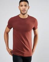 Asos Longline Muscle T-Shirt In Chestnut