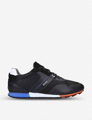 BOSS Parkour leather, suede and mesh trainers