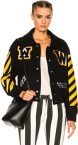Off-White Varsity Bomber Jacket with Patches