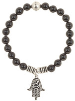 Steve Madden Black Onyx Beaded Hamsa Charm Stretch Bracelet