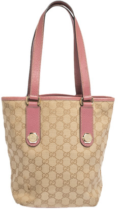 Gucci Pink/Beige GG Canvas and Leather Small Vintage Open Tote