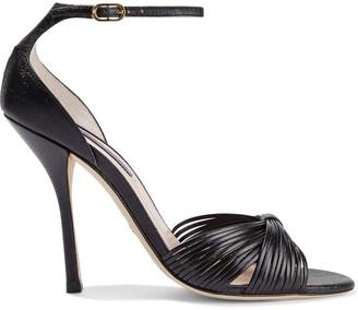 Stuart Weitzman Paulette Metallic Textured-leather Sandals