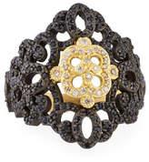 Armenta Old World Filigree Ring with White Diamonds & Black Sapphires