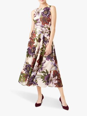 Hobbs Carly Midi Dress, Blush/Multi