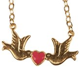Jessica Elliot Ladies Gold Two Doves Kissing Heart Necklace: Skinny by Pink