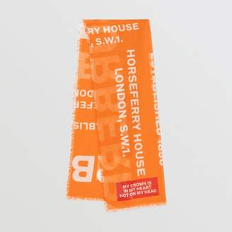Burberry Horseferry Print Lightweight Wool Silk Scarf