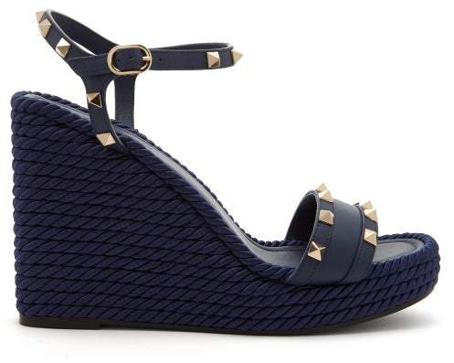 9b7cff75f8f Torchon Rockstud Leather Wedge Sandals - Womens - Navy