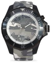 KYBOE Stainless Steel Camouflage Bezel Silicone Strap Watch