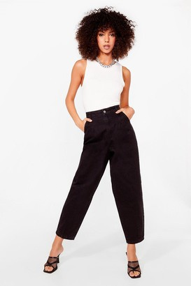 Nasty Gal Womens Sooner or Tapered High-Waisted Organic Jeans - Black