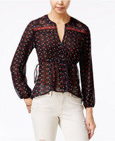 American Rag Sheer Printed Crochet-Trim Pintucked Blouse, Only at Macy's