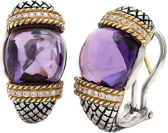 Candela Andrea Rodeo Cabachon 18K & Silver 0.24 Ct. Tw. Diamond & Amethyst Earrings