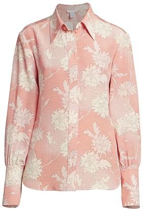 Chloé Scale-Print Floral Silk Blouse