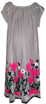 One Red Fly Embroidered Hem Grey Velour Dress