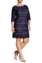 Eliza J 3/4 Sleeve Lace Shift Dress (Plus Size)