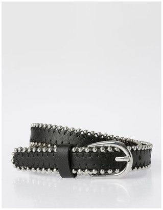 Miss Shop Silver Buckle Belt with Beaded Edge