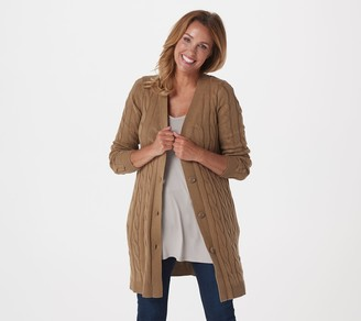 Lisa Rinna Collection Cable Knit Cardigan