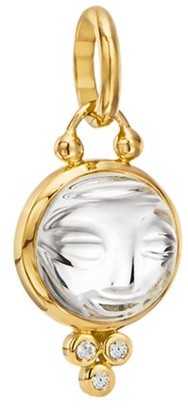 Temple St. Clair Celestial Rock Crystal, Diamond & 18K Yellow Gold Small Moonface Pendant
