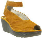 Fly London Women's Sandals 050 - Honey Yala Perforated Ankle-Strap Leather Wedge - Women