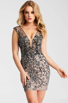 Jovani JVN58634 Beaded Deep V-Neckline Short Dress