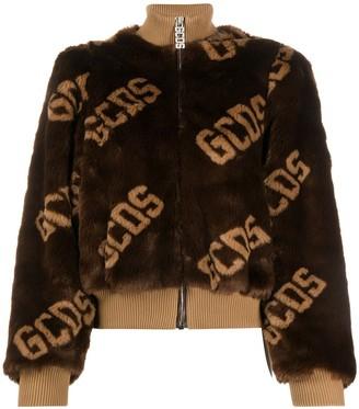 GCDS Textured Logo Print Bomber Jacket