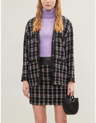 Maje Faux-leather trim tweed skirt