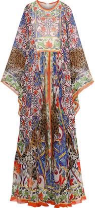 Dolce & Gabbana Gathered Printed Silk-chiffon Gown