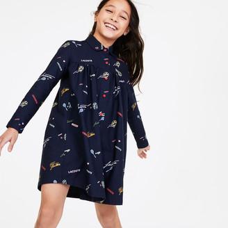Lacoste Girls' Print Flounced Oxford Cotton Shirt Dress