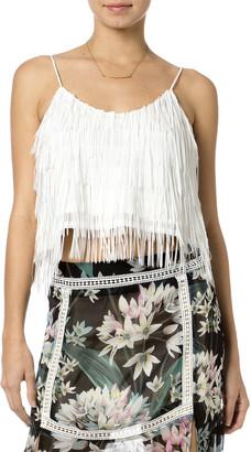 Miss Me Women's Blouses WHITE - White Fringe Cropped Camisole - Women