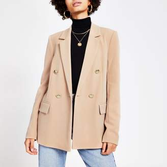 River Island Womens Beige double breasted structured blazer