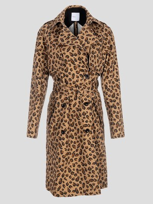 Rosetta Getty Layered Leopard Trench Coat
