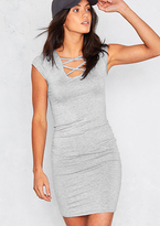 Missy Empire Mesa Grey Short Sleeved Lace Up Front Mini Dress