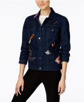 NY Collection Cotton Patched Denim Jacket
