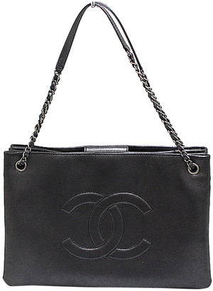 Chanel Metallic Gray Calf Leather Coco Large Chain Tote