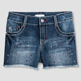 Xhilaration Girls' Mid Rise Jean Shorts Dark Denim Wash