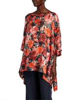 eskandar 3/4-Sleeve Floral-Print Silk Top