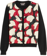 Moschino Printed Crepe De Chine-paneled Wool Cardigan - Black