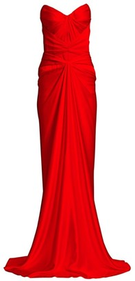 Zac Posen Strapless Gathered Sheath Gown