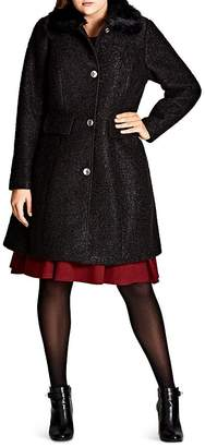 City Chic Plus Winter Rose Faux Faur-Collar Coat